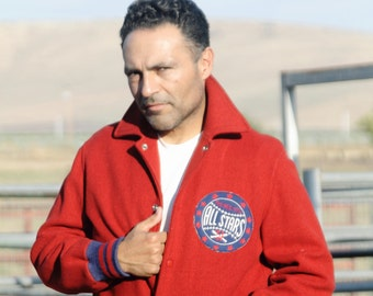 """1951 All Stars Baseball Jacket, Car Coat Styling, Ribbed Cuffs, Great Patch, Cherry Red, letterman jacket, """"General Althletic Product"""" 1950s"""