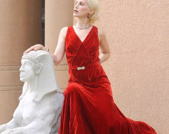 Stunning 1930s Old Hollywood scarlet red velvet gown, bias cut, rhinestone belt,  GORGEOUS DESIGN