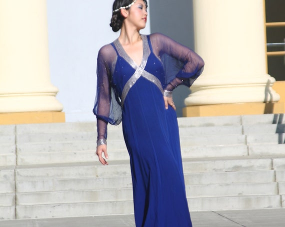 Stunning 1930s royal blue beaded gretian goddess gown in silk crepe with magnificant sleeves MED