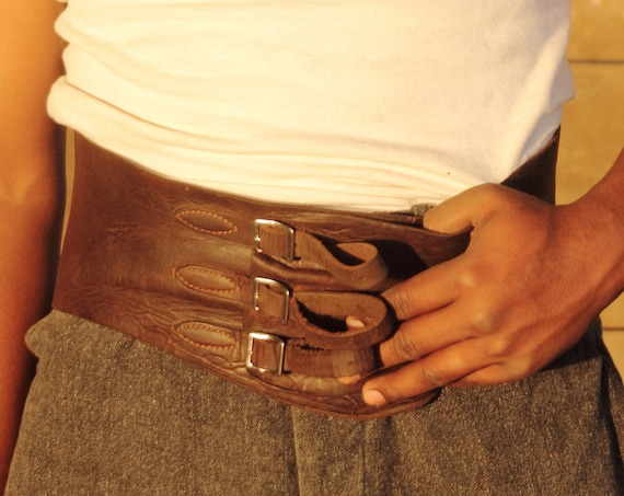 """1930s tooled leather kidney motorcycle belt with buckles 34 1/2"""" 39 3/4"""""""
