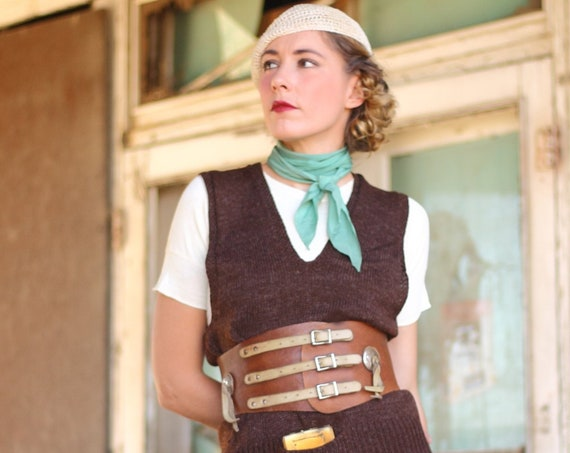 """1940s Two Tone kidney belt with conchos and three buckles, Waist 27 1/4""""- 30 1/4"""""""