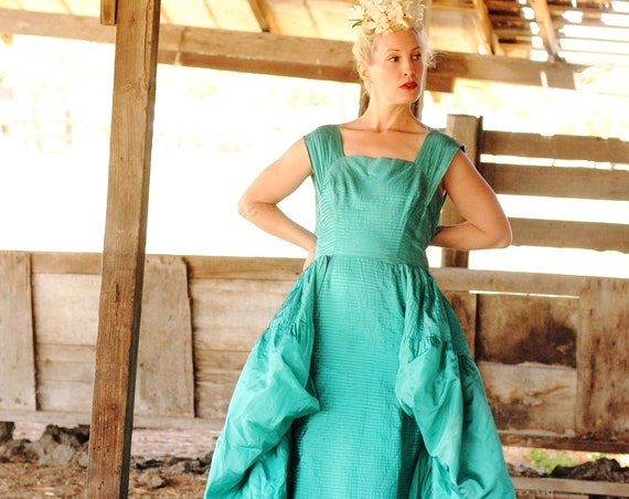 Early 1960s teal silk high fashion gown,. SM