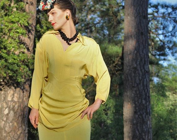 Original 1950s Lilli Diamond Chartreuse dress, swag, batwing sleeves, train   XS