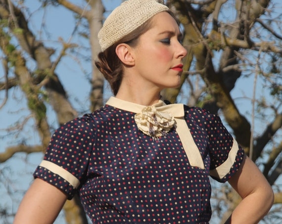 Early 1940s silk red, white, bue polka dot dress with built-in white corsage and collar MED