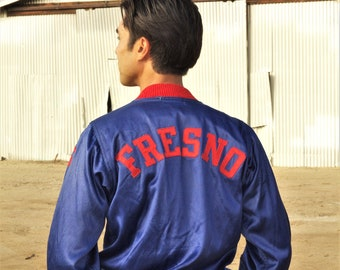 Great 1940s two tone satin jacket, FRESNO, Cobalt blue and fire truck red, buttons,  O'Shea Knitting Mills, SM MED