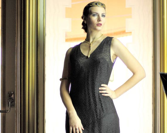 1920s two piece black lace gown & vest with built-in slip  Sm - Med