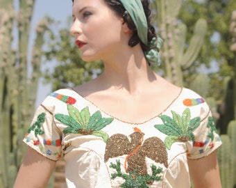 LAYAWAY Fabulous 1920s beaded China Poblana blouse from Mexico. Eagle and snake, cactus. Museum Piece.  SM