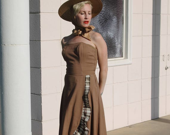 Strapless 1950s mocha sun dress with jacket and gingham ruffle Anjac Fashions by Jack Needleman SM