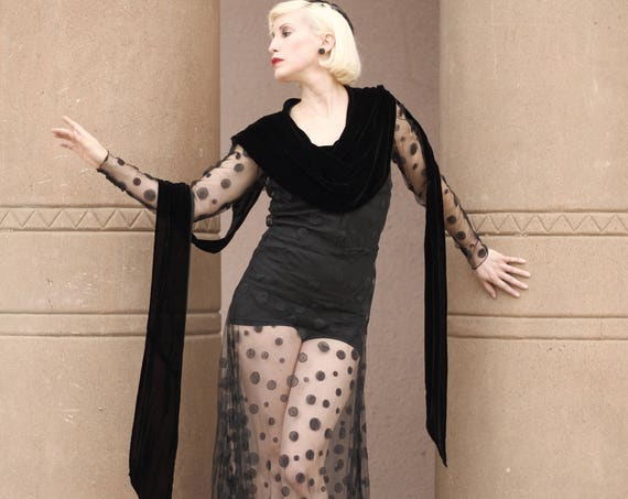LAYAWAY 1930s black sheer net polka dot gown with built-in silk velvet collar and long sash, train, fitted sleeves. Sm - Med