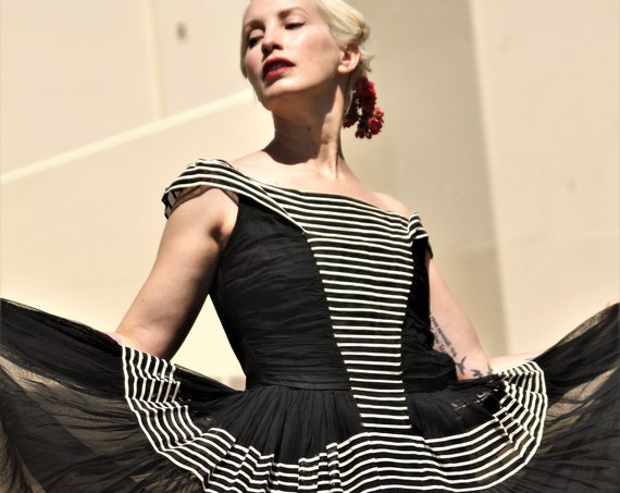 Gorgeous 1940s black with white stripes off the shoulder evening gown with full sheer flowing skirt XS