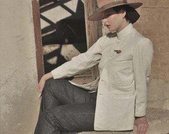 1930s Japanese worker chore coat, mandarin collar, shell buttons original yen in pocket Men's XS WMN SM