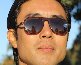 Unique 1930s brown celluloid aviator style sunglasses with glass lens,  The Wanderer