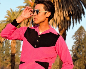 Fantastic 1940s two tone gaucho shirt, hot pink and black, pullover, SM MED