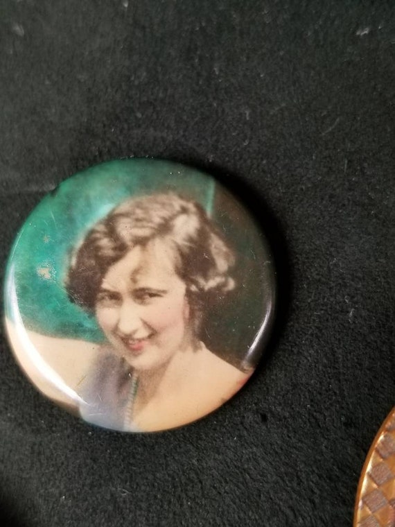 1920's  sweetheart mourning pin brooch with flapper girl's photograph.
