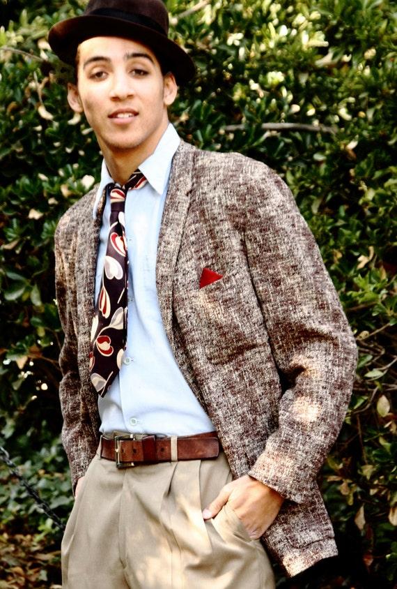 1950s flecked  suit jacket original, high quality Louart design