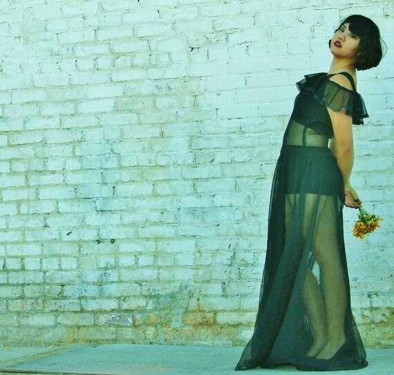 Gorgeous 1930s black silk chiffon sheer gown, dre… - image 4