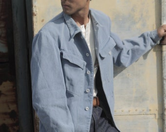 Layaway Swiss WWII 1940s denim Prison jacket, cinched back, donut buttons, inmate number 48912, WWII workwear