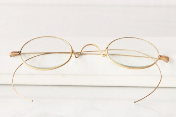 Antique Edwardian spectacles,oval, glasses, S.P.A., The Stow Away