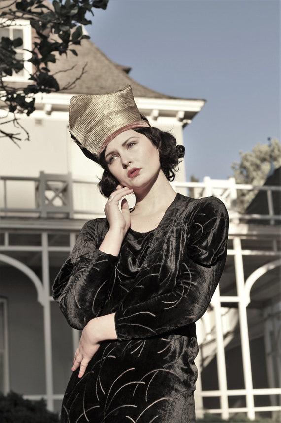 1930s black velvet burnout gown bias cut with gus… - image 9