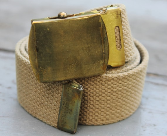 1940s military service belt with solid brass slide buckle (green Khaki) SM - Marked 1943