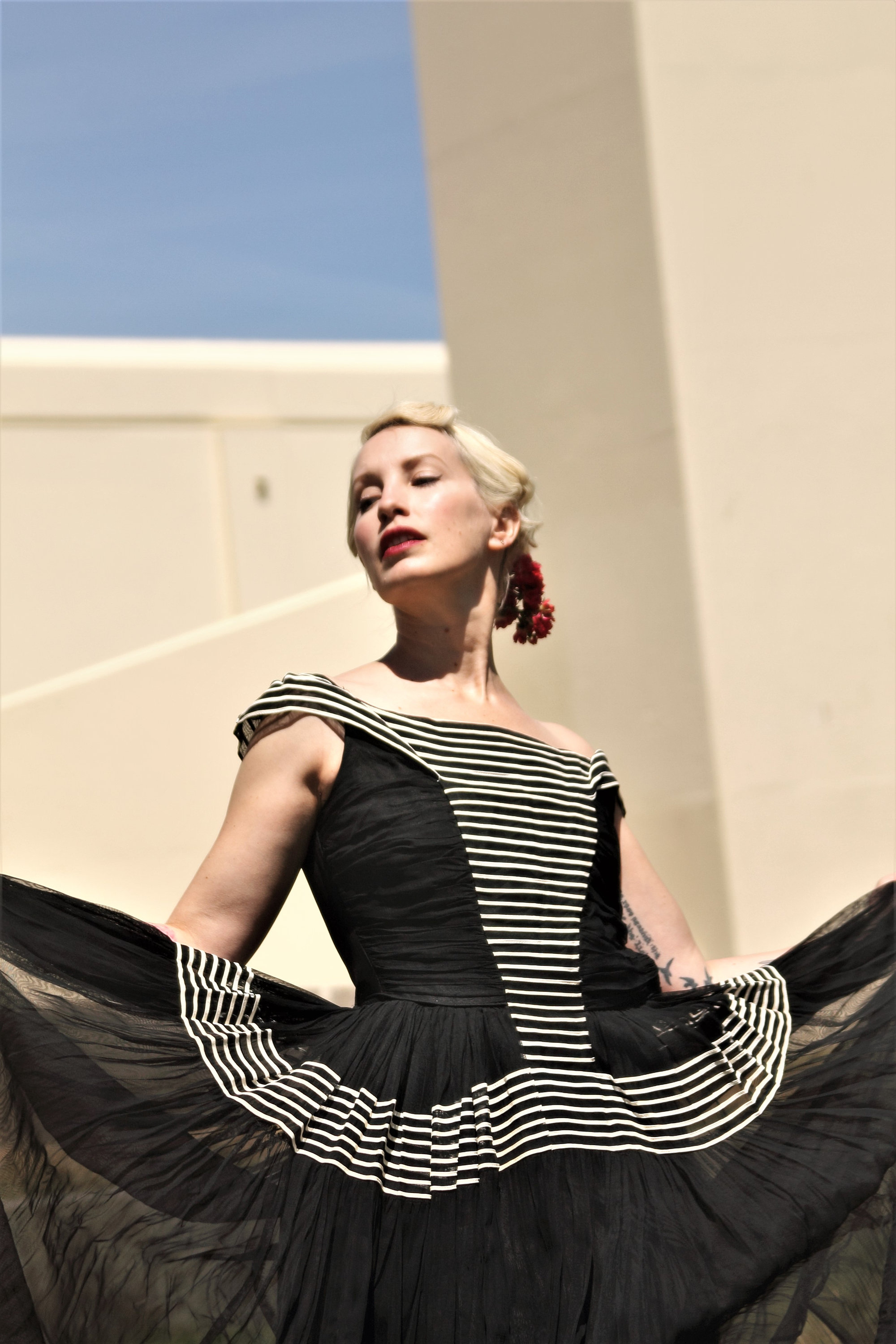 Gorgeous 1940s black with white stripes off the shoulder evening ...