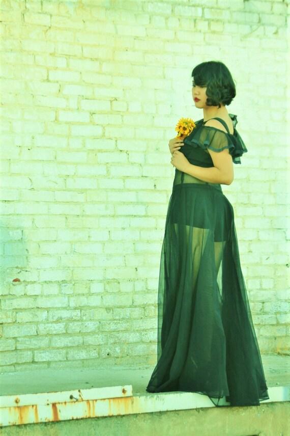 Gorgeous 1930s black silk chiffon sheer gown, dre… - image 6