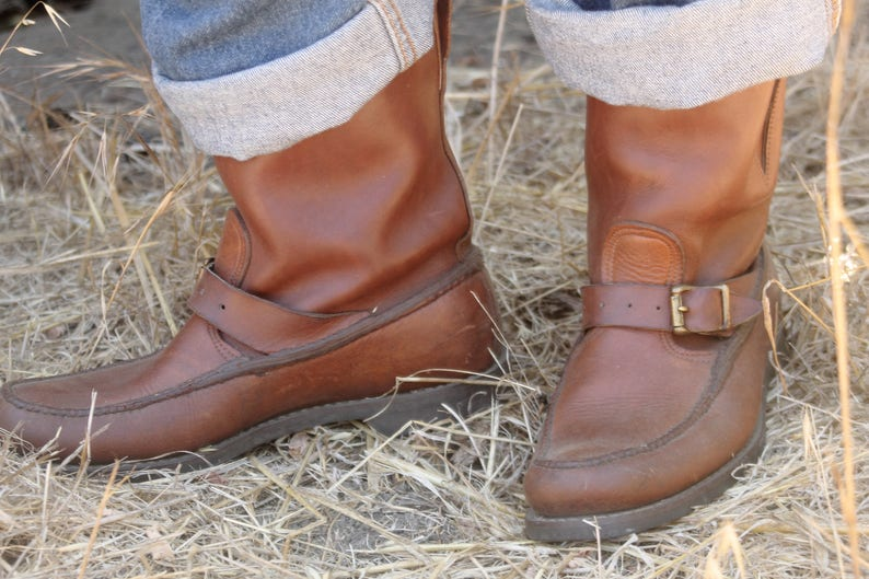 d42219e4c2b 1950s Gokey snake boots, thick bull hide with moc toe, Gro-cord King B  sole, Size 10.5
