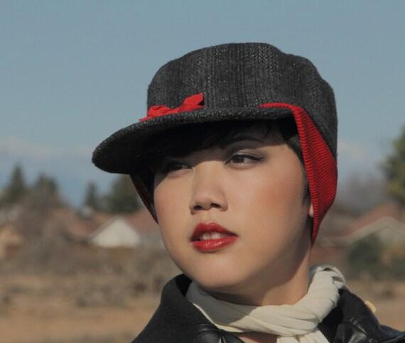1950er Jahren Frauen Jagd Hut Rote Bogen Und Ohr Band Grau
