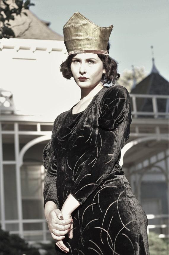 1930s black velvet burnout gown bias cut with gus… - image 1