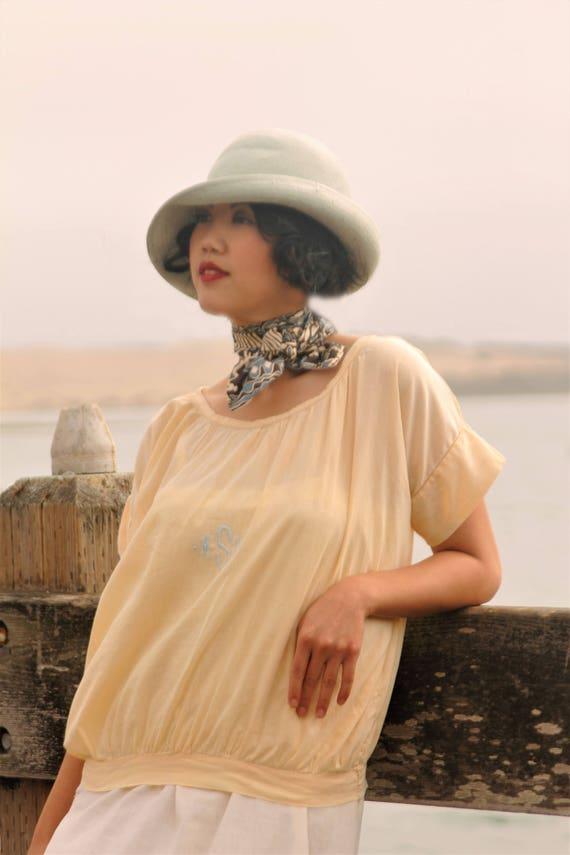 1920s butter creme cotton blouse, monogrammed SZ, MED - LG