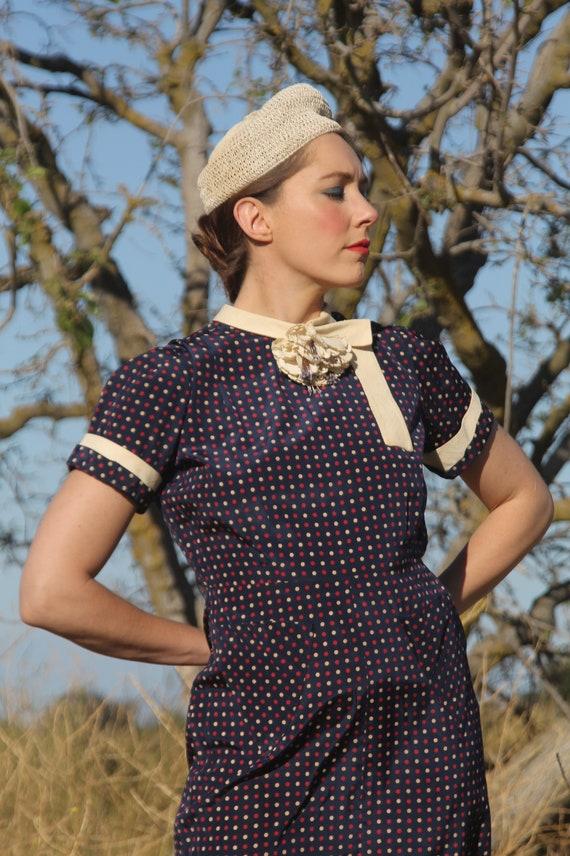 Early 1940s silk red, white, bue polka dot dress w
