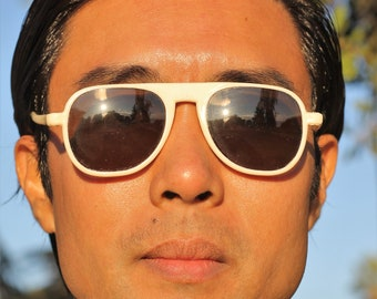 Unique 1930s white celluloid aviator style sunglasses with glass lens,  The Cloud Maker