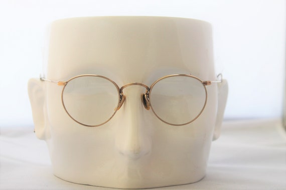 1920s panto style glasses, eyeglasses, gold filled rims & temples,  THE CASUALTY
