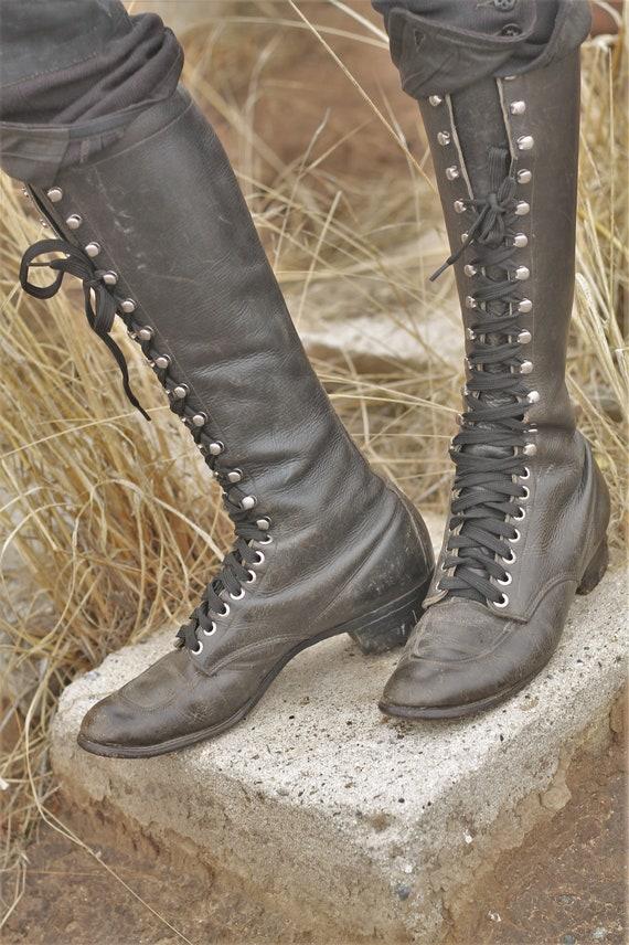 LAYAWAY 1930s Black moc toe field boots, work boot