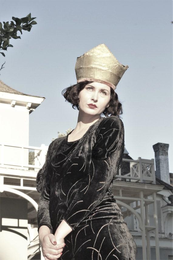1930s black velvet burnout gown bias cut with gus… - image 8