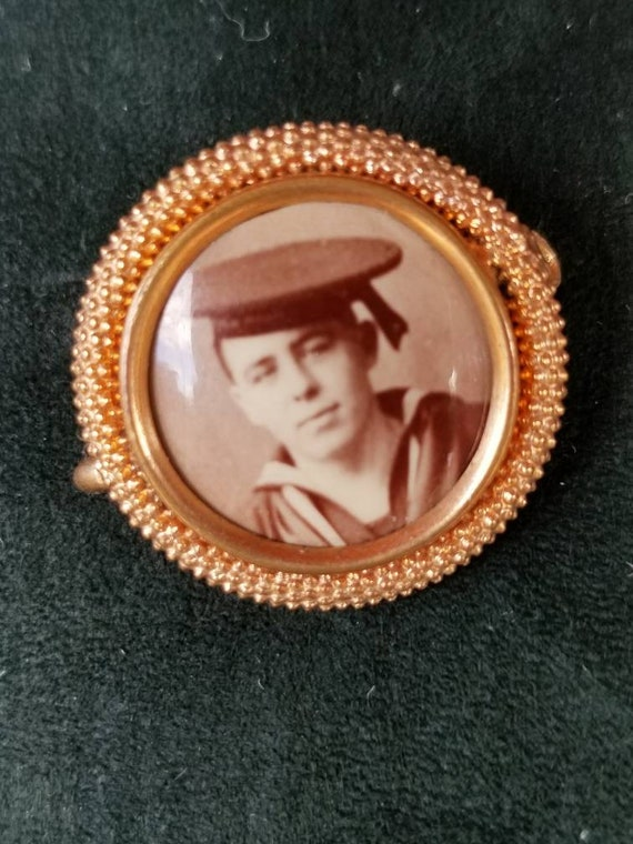 Antique Early 1900's  sweetheart mourning pin brooch with merchant marines photograph.