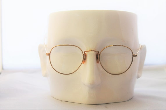 Reserved 1920s Bausch and Lomb glasses, eye glasses, panto style, Art Deco Patterning, gold filled rims & temples,  The Golden Sky