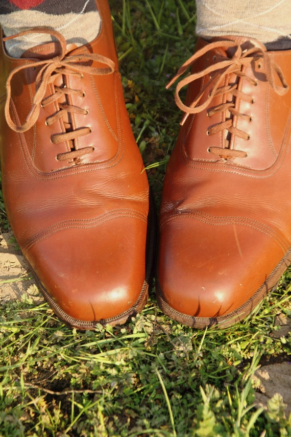 Brown 1930s cap toe dress shoes by Salamander of Germany