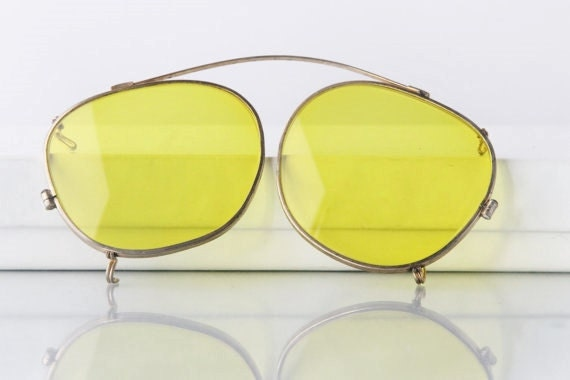 1940's yellow clip on, aviator sunglasses, gold to