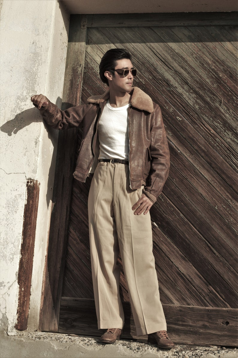1940s Men's Outfit Inspiration | Costume Ideas 1940s leather G1 flight bomber jacket lined in capeskin faux mouton collar SM MED $485.00 AT vintagedancer.com