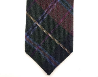 Wool checked burgundy green tie