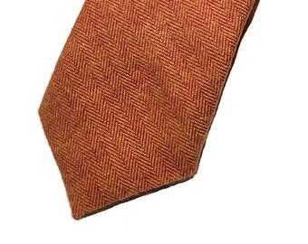 Orange herringbone tie