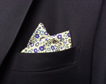 Liberty Print blue floral pocket square Fairford flower pale cornflower blue pocket square, wedding groom suit square, men's Christmas gift