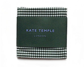 Dark green checked pocket square, gingham plaid pocket square, wedding groom suit handkerchief, stocking filler,