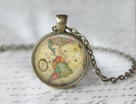 Globe necklace world map necklace world traveler necklace etsy image 0 gumiabroncs Choice Image