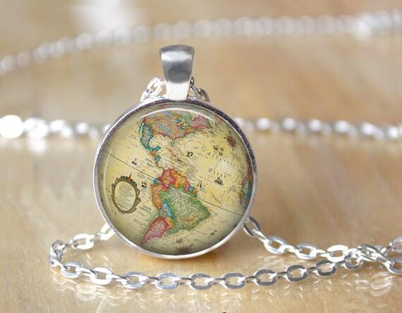 Glass globe necklace world map necklace world necklace etsy image 0 gumiabroncs Choice Image