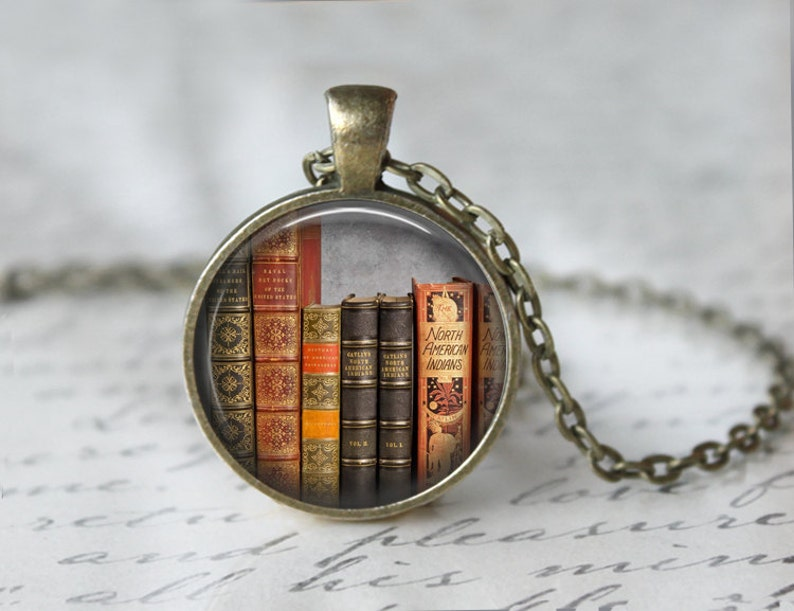 0a5f36ea89d Library Book Necklace Librarian Pendant Gifts for Readers