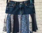 Boho Denim Blue Jeans Mini Skirt Upcycled Eco Friendly Clothing Eco Sustainable Short Skirt Waist 28 quot Women 39 s Size Small Medium Patchwork