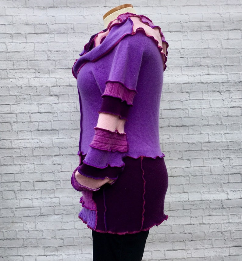 Lavender Mauve Jumper Soft Warm Colorful Sweater Upcycled Patchwork Art to Wear Purple Cashmere Cowl Long Sweater Large XL 12 14