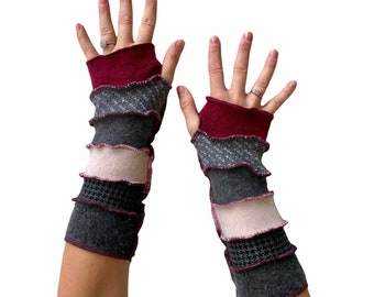 Long Cashmere Cotton Fingerless Gloves in Gray Pink and Magenta - Handmade Eco Sustainable Accessories for Women - ThankfulRose Arm Warmers